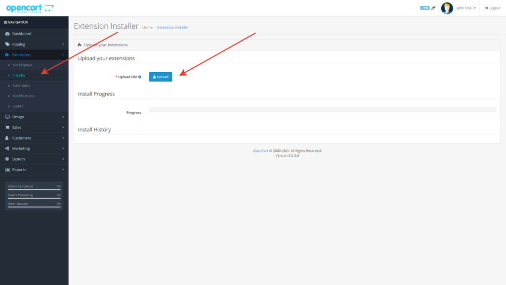 Opencart installing XD Admin Filter module